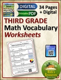 Math Vocabulary Activity Worksheets 3rd Grade