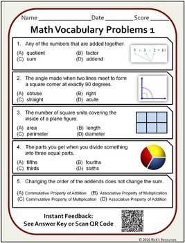 math vocabulary activity worksheets 3rd grade by rick 39 s resources. Black Bedroom Furniture Sets. Home Design Ideas
