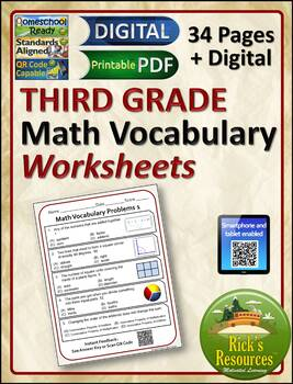 Math Vocabulary Words Practice and Review Worksheets for 3