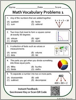 Math Vocabulary Words Practice and Review Worksheets for 4th Grade - Test Prep