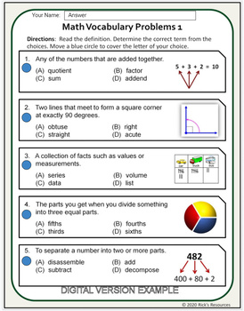 Math Vocabulary Activity Worksheets 4th Grade