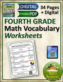 Math Vocabulary Words Practice and Review Worksheets for 4