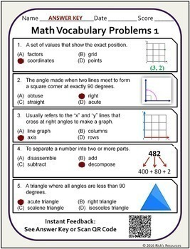 Math Vocabulary Activity Worksheets 5th Grade