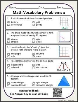 Math Vocabulary Activity Worksheets 5th Grade