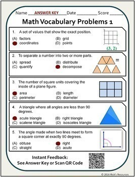 Math Vocabulary Words Practice and Review Worksheets for 6th Grade - Test Prep