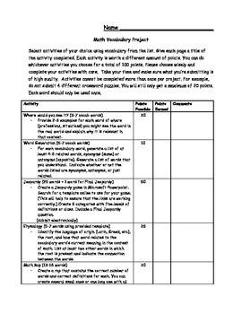Math Vocabulary Project (Menu)
