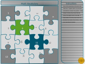 Math Vocabulary Puzzle Game