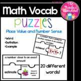Place Value and Number Sense Math Vocabulary Puzzles