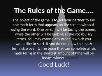 Math Vocabulary - Pyramid Game