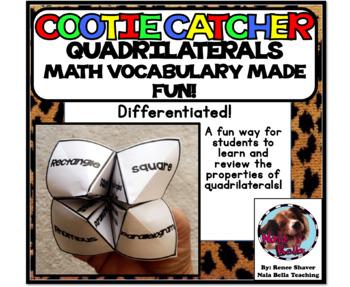 Math Vocabulary Quadrilateral Cootie Catcher
