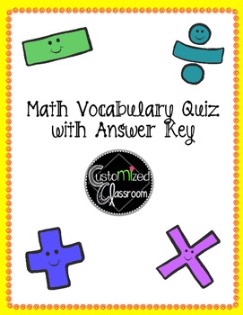 Math Vocabulary Quiz - Operations