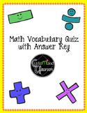 Math Vocabulary Quiz - Operations