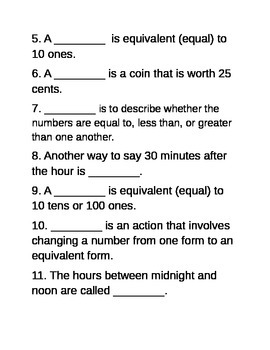 Math Vocabulary Quiz and Study Guide