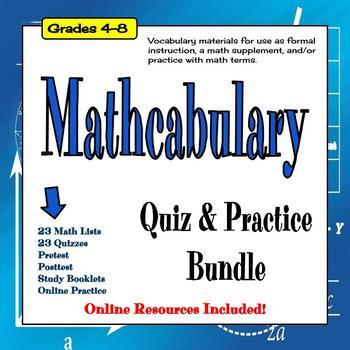 Math Vocabulary Quiz Bundle