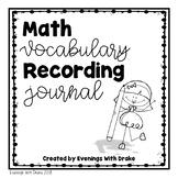 Math Vocabulary Recording Journal (Kindergarten)