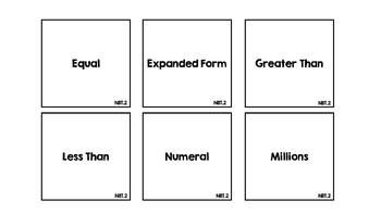 Math Vocabulary Review Game Fourth Grade All NBT Standards