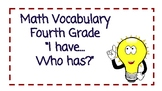 """Math Vocabulary Review """"I Have, Who Has"""" Game"""