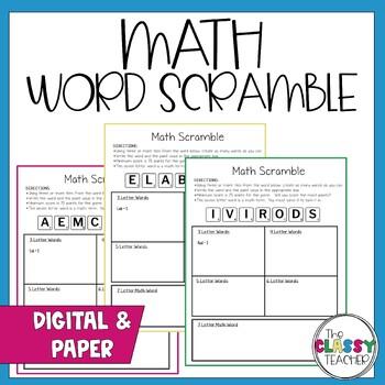 Math Vocabulary - Scramble Set