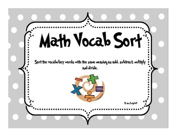 Math Vocabulary Sort