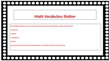 Math Vocabulary Station Game