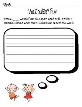 Math Vocabulary Work