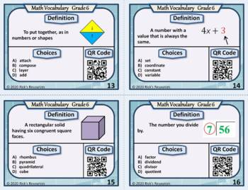 Math Vocabulary Words Practice and Review Task Cards for 6th Grade - Test Prep