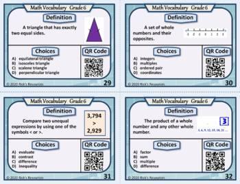 Math Vocabulary Activity Cards 6th Grade