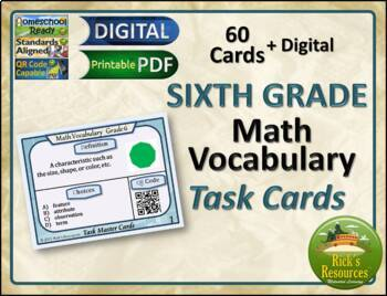 Math Vocabulary Words Practice and Review Task Cards for 6