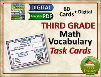 Math Vocabulary Words Practice and Review Task Cards for 3