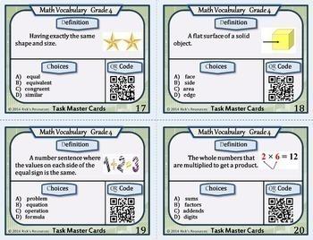 Math Vocabulary Activity Cards 4th Grade