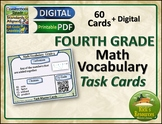 Math Vocabulary Activity Cards 4th Grade Distance Learning Homeschool Ready