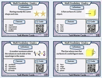 Math Vocabulary Words Practice and Review Task Cards for 5th Grade - Test Prep