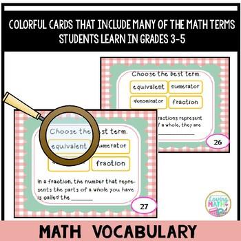 Math Vocabulary Task Cards Grades 3-5