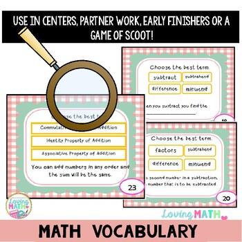 Math Vocabulary Task Cards