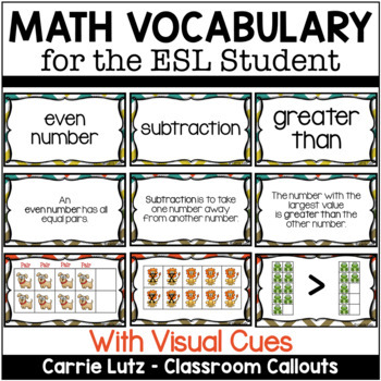 Math Vocabulary Terms for PRIMARY ELLS