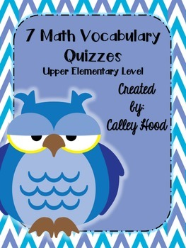 Common Core/GA Milestones Math Vocabulary Tests (Upper Elementary)