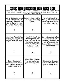 Math Vocabulary Tic Tac Toe