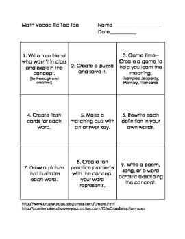 Math Vocabulary Tic_Tac_Toe
