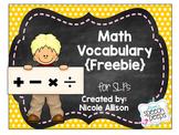 Math Vocabulary Visual for the SLP Freebie