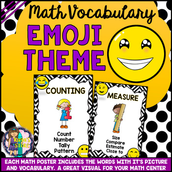 Math Wall Vocabulary Posters Emoji Series (MATH CENTER)