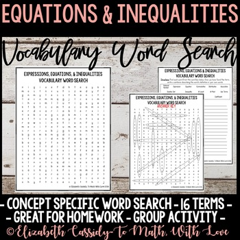 Math Vocabulary Word Search - Equations & Inequalities Unit - 7th Grade