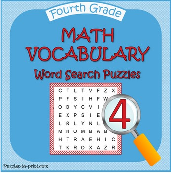 Fourth Grade Math Word Search Pack by Puzzles to Print | TpT