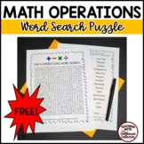 Math Vocabulary Word Search - MATH OPERATIONS