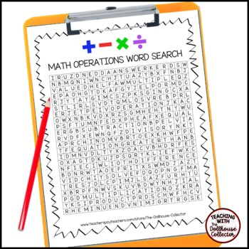 Math Vocabulary Word Search - MATH OPERATIONS