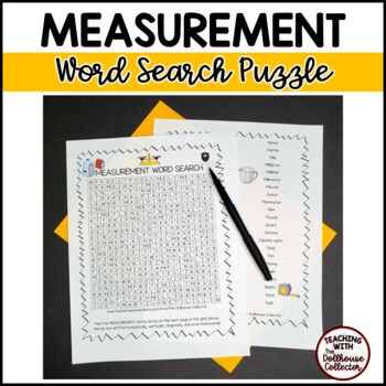 Math Vocabulary Word Search - MEASUREMENT
