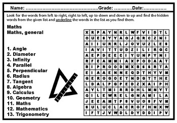 Math Vocabulary, Word Search Puzzle Worksheets, No Prep Sub Plan