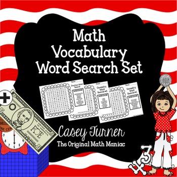 Math Vocabulary Word Search Set  - Common Core Aligned
