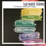 Math Vocabulary Word Wall: 140 Upper elementary MATH terms EDITABLE 10 colors