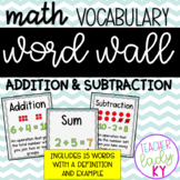 Math Vocabulary Word Wall *Addition & Subtraction*