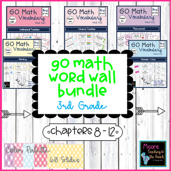GO Math Vocabulary Word Wall BUNDLE Chapters 8 - 12, Grade 3